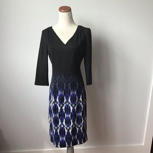 Eli Tahari V-Neck 3/4 Sleeve Sheath Dress SZ 4